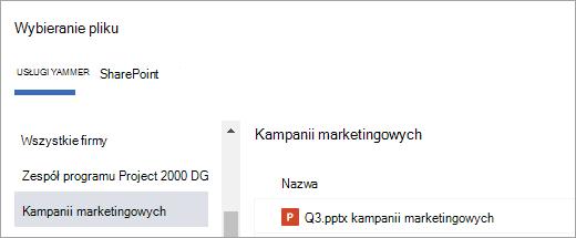 Lista plików usługi Yammer