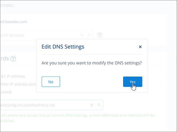 Kliknięcie przycisku Yes (Tak) w oknie dialogowym Edit DNS Settings (Edytowanie ustawień DNS)