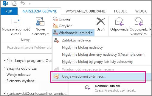 Menu Wiadomości-śmieci w programie Outlook 2013