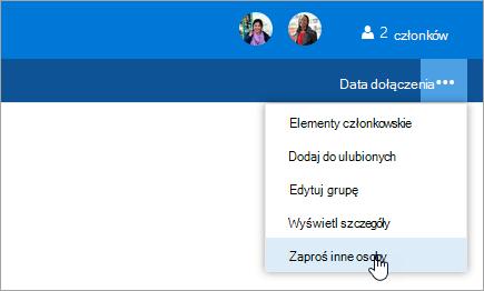 Zrzut ekranu: okno Zaproś inne osoby przycisk w menu Ustawienia grupy.