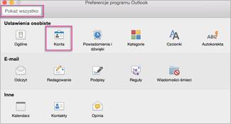 Okno dialogowe Preferencje w programie Outlook