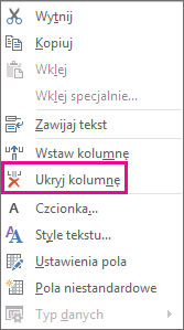 Hide Column command on the right-click menu