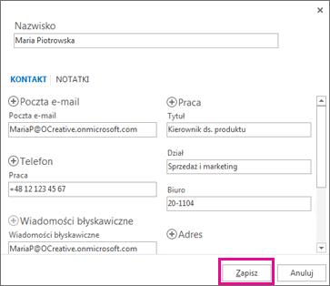 Dodawanie nowego kontaktu do programu Outlook z wiadomości