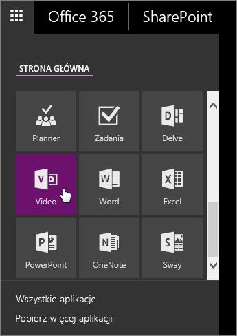 Zrzut ekranu przedstawiający okienko aplikacji z aktywnym kafelkiem Wideo.