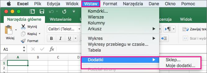 Pozycja Wstawianie > dodatki przepływ w pakiecie Office 2016 dla komputerów Mac.