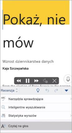 Pokazuje funkcję Czytaj na głos w aplikacji Word