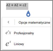 Pokazywanie formaty równania matematyczne