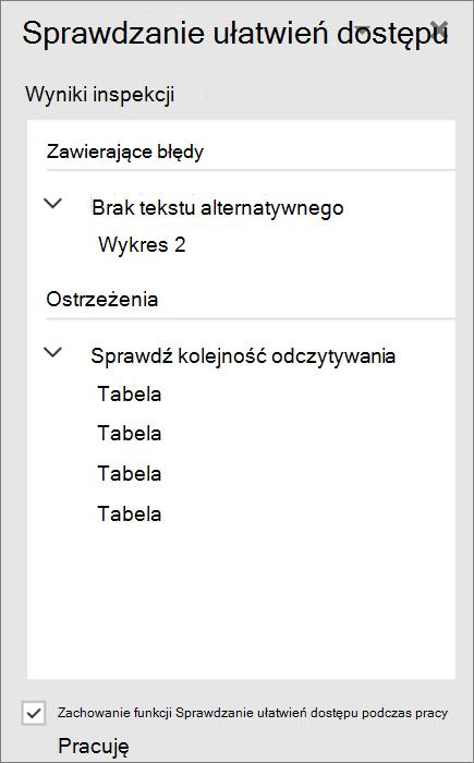 Sprawdzanie ułatwień dostępu w programie Word