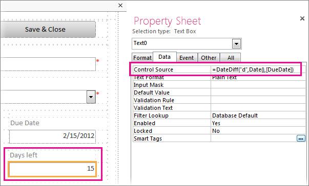Wprowadzanie funkcji DateDiff we właściwości Źródło kontrolki pola tekstowego.
