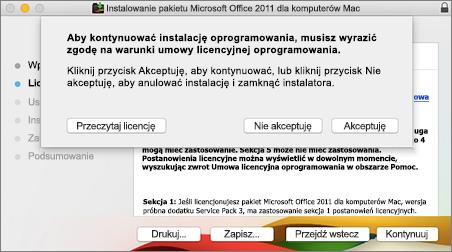 Zrzut ekranu przedstawiający okno akceptacji umowy licencyjnej oprogramowania