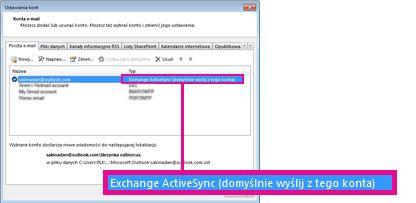 Konto programu Microsoft Exchange wyświetlane w oknie dialogowym Ustawienia kont
