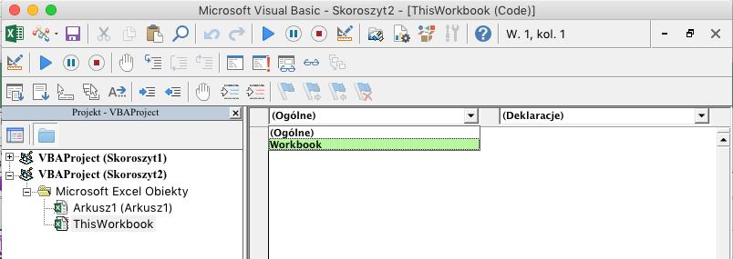 Edytor VBE z pokazaną listą rozwijaną wyboru obiektu