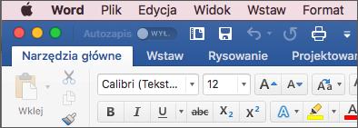 Wstążka w programie Word dla komputerów Mac w motywie kolorowy