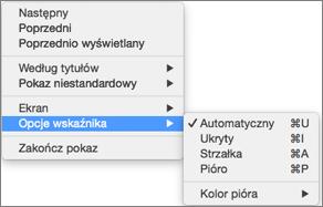 Aby wyświetlić listę poleceń podczas rejestrowania, kliknij, przytrzymując naciśnięty klawisz Control