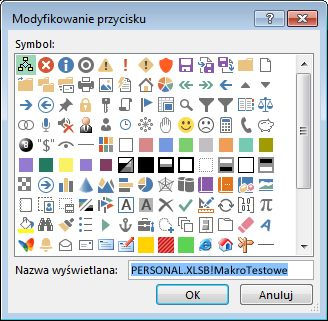 Okno dialogowe przyciski Modyfikuj