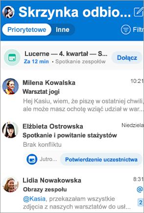 Pokazuje skrzynkę odbiorczą programu Outlook