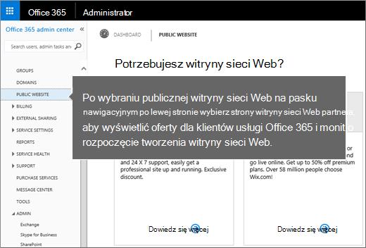Wybieranie publicznej witryny internetowej w usłudze Office 365