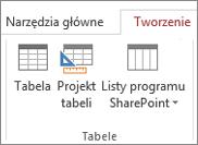 Uzyskiwanie dostępu do polecenia wstążki Tworzenie > Projekt tabeli