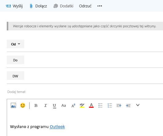 Dodawanie adresów do wiadomości e-mail w skrzynce pocztowej witryny