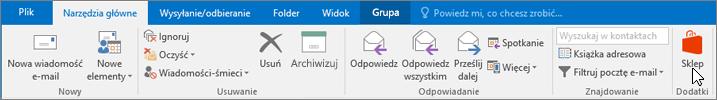 Zrzut ekranu przedstawiający kartę Narzędzia główne w programie Outlook z kursorem wskazującym ikonę sklepu w grupie Dodatki.