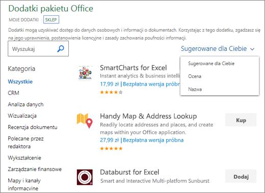 """Zrzut ekranu przedstawiający sekcji magazyn strony dodatków pakietu Office, gdzie możesz przeglądać dodatku, jego ocena, nazwa lub za pomocą opcji """"Sugerowane dla Ciebie"""". Aby znaleźć dodatku można także użyć pola wyszukiwania."""