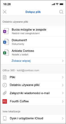 Ekran mobilny z listą ostatnio używanych i iCloud plików