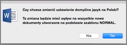 Język domyślny w pakiecie Office dla komputerów Mac