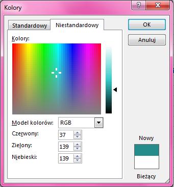 Opcja niestandardowego mieszania kolorów