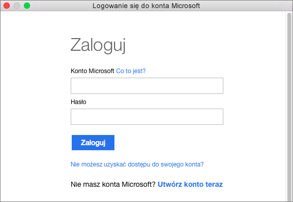 Wprowadź poświadczenia konta Microsoft, aby uzyskać dostęp do usług skojarzonych z Twoim kontem.