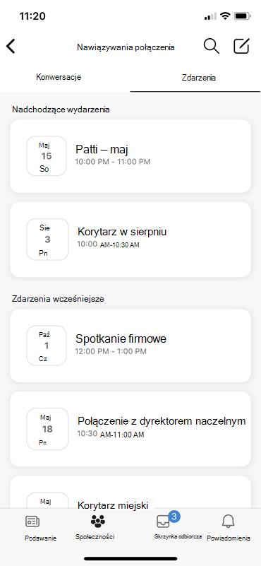 Zrzut ekranu przedstawiający odnajdowanie zdarzeń LIEE na urządzeniach przenośnych