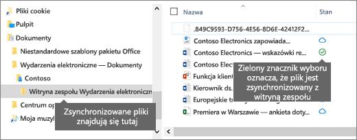 Zobacz, co zostało synchronizacji w folderze lokalnym