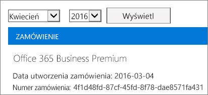 Zrzut ekranu przedstawiający stronę Rachunki w centrum administracyjnym usługi Office 365.