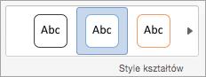 Opcje w grupie Style kształtów