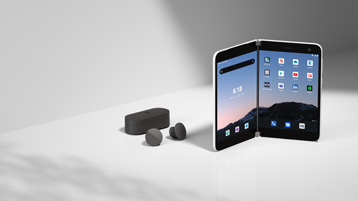 Urządzenie Surface Duo ze słuchawkami dousznymi Surface Earbuds