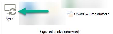 Opcja Synchronizuj znajduje się na wstążce programu SharePoint, po lewej stronie przycisku Otwórz w Eksploratorze.