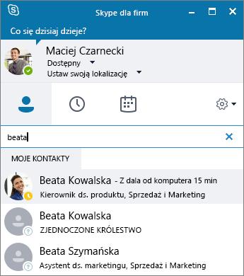 Zrzut ekranu przedstawiający okno programu Skype dla firm podczas wyszukiwania kontaktu do dodania.