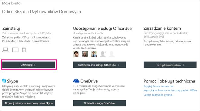 Zrzut ekranu: strona Moje konto z wybranym przyciskiem Zainstaluj.