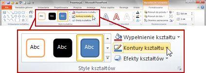 Karta Formatowanie w obszarze Narzędzia do rysowania na wstążce programu PowerPoint 2010.