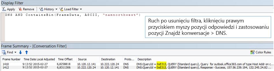 Śledzenie filtrowane według opcji Znajdź konwersację, a następnie według rekordów DNS.