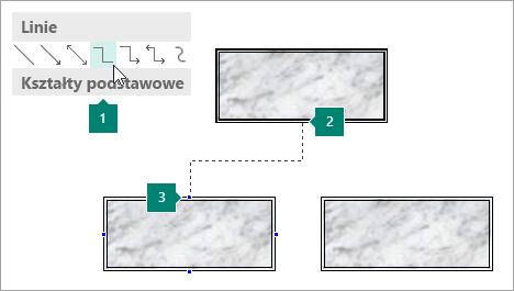 Łączenie kształtów za pomocą linii łącznika