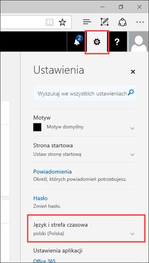 Zrzut ekranu: panel ustawień przedstawiający ikonę ustawień i ustawienia języka