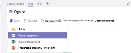 Tworzenie lub Przekaż nowy plik w bibliotece pliki do kanału