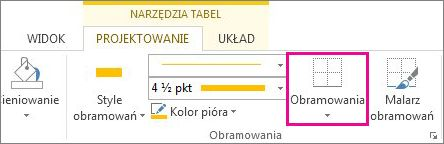 Przycisk Obramowanie na karcie Narzędzia tabel