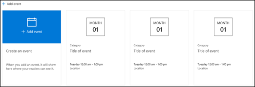 Składnik Web Part zdarzeń programu SharePoint