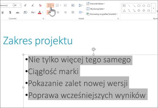 Zaznaczony tekst z zastosowanymi punktorami