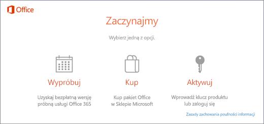 Zrzut ekranu przedstawiający domyślne opcje wypróbowania, zakupienia lub aktywowania dla komputera z wstępnie zainstalowanym pakietem Office.