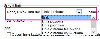 Wybierz pozycję Brak, aby wyeliminować uskoki linii z linii łączników.