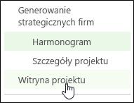 Pozycja Witryna projektu na pasku Szybkie uruchamianie