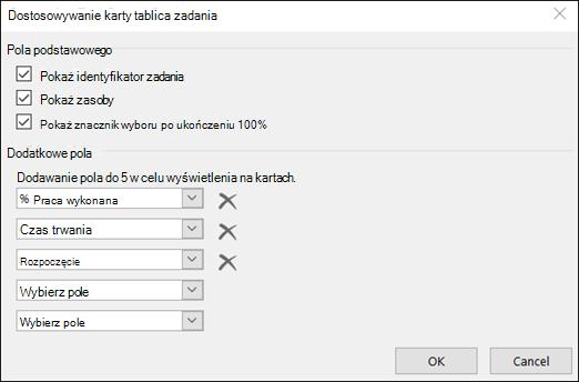 Dostosowywanie ustawień konfiguracji karty