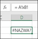 Błąd #NAZWA? w wyniku użycia znaku x zamiast znaku * jako symbolu mnożenia w odwołaniach do komórek